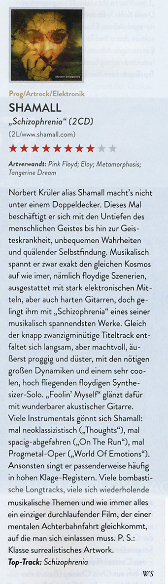 "Rezension ""Shamall - Schizophrenia"" im Eclipsed Rock Magazin 12/2019 - 01/2020"
