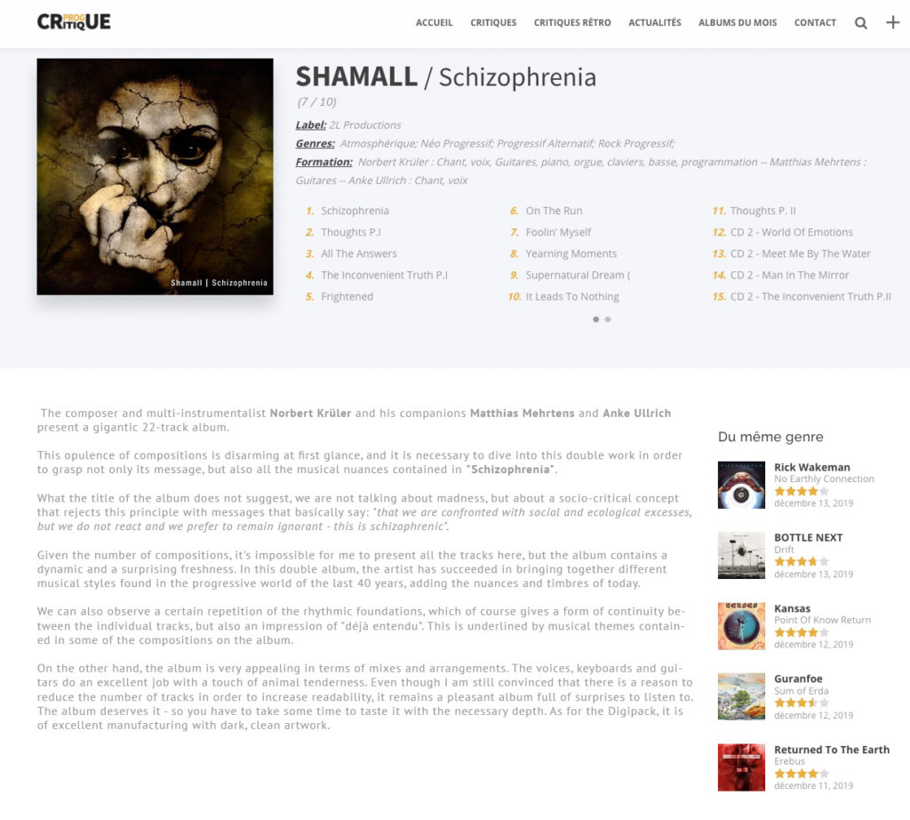 Review of Shamall - Schizophrenia from ProgCritique
