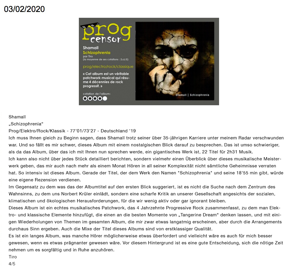"Prog Censor - Rezension von ""Shamall - Schizophrenia"""